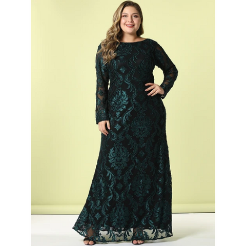 Plus Size Casual Embroidery Mesh Long Sleeve Maxi Party Dress