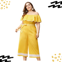 Load image into Gallery viewer, Plus Size Mustard Off Shoulder Jump Suit
