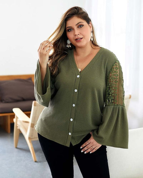 Plus Size Long Lace Sleeve Tops