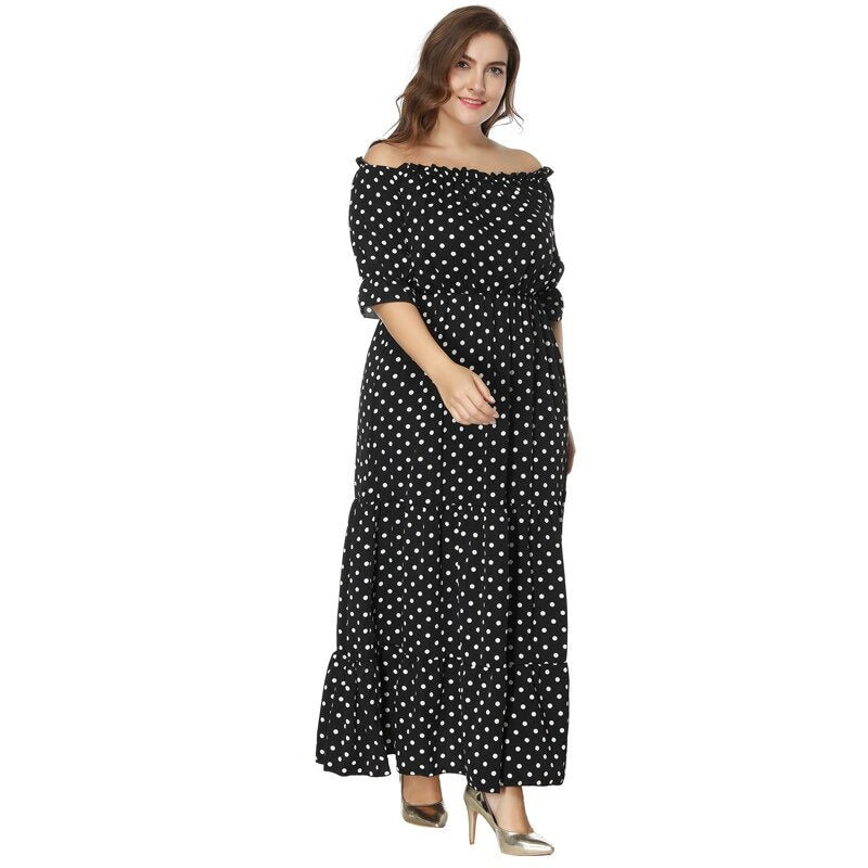 Plus Size Polka Dot Wave beach Dress