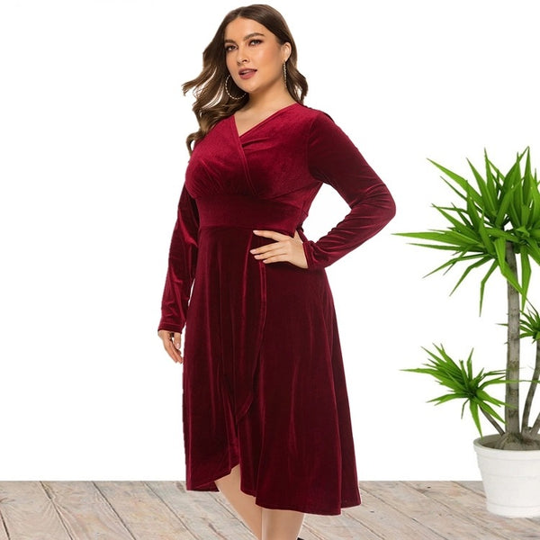 Plus Size Party Prom Evening Velvet Dress
