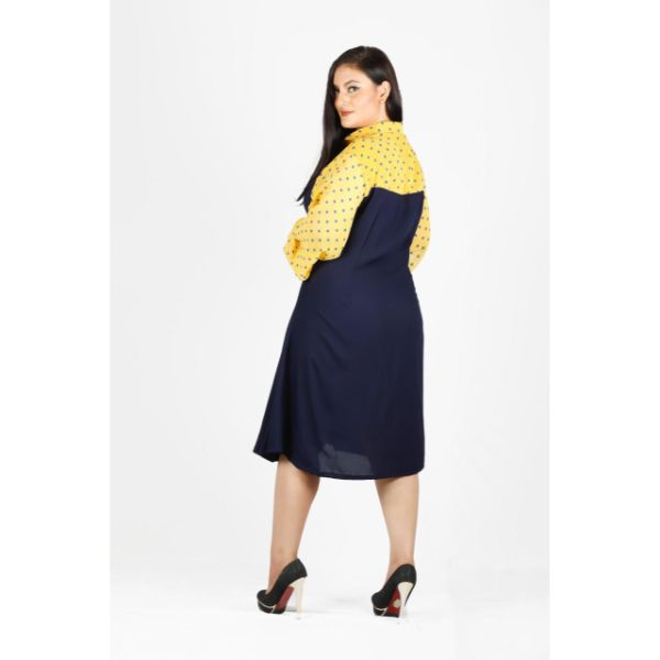 Plus Size Polka Dot Midi Casual Dress