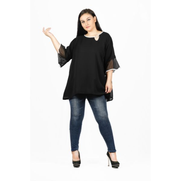 O neck Black Chiffon Top