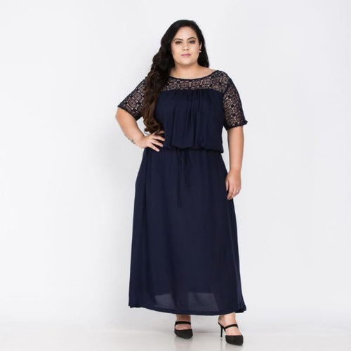Plus Size Long Blue Party Gown
