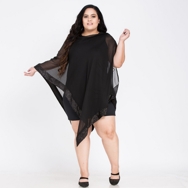 Plus Size Sequined Overlay Capelet O-Neck Bodycon Dress