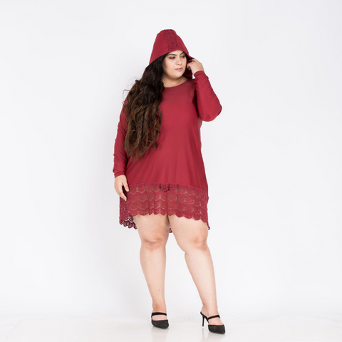 Plus Size Ciaobella Long Loose Dress With Hoodie