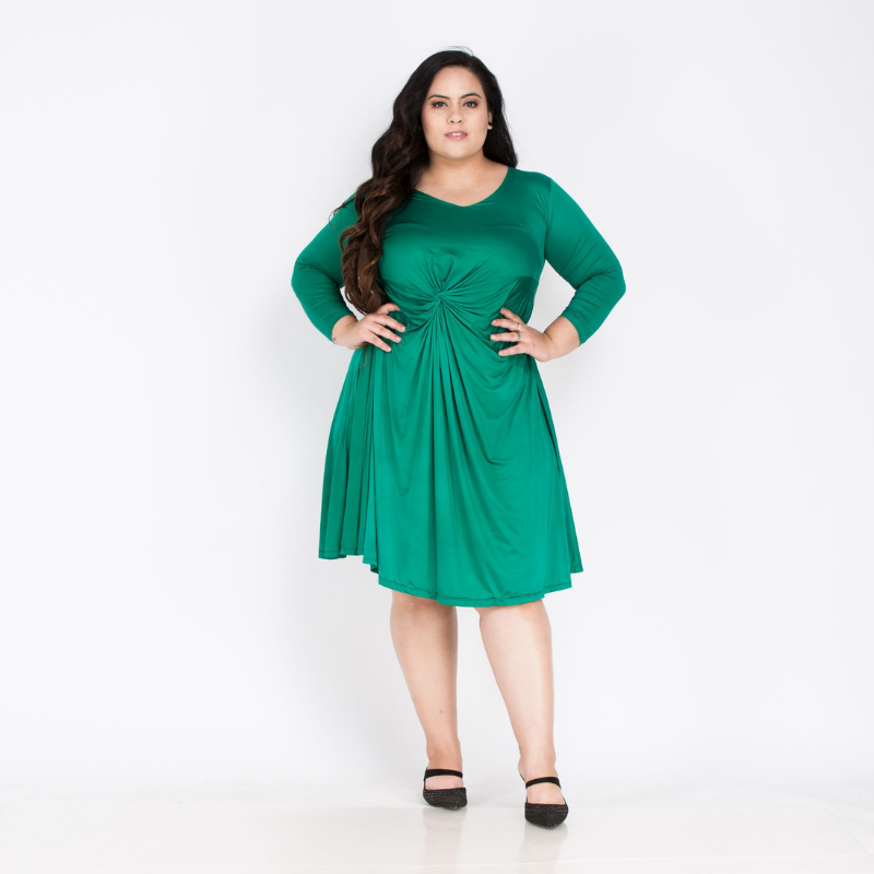Plus size Green party dress