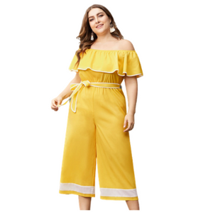 Plus Size Ruffled Off Shoulder Jumpsuit rompers