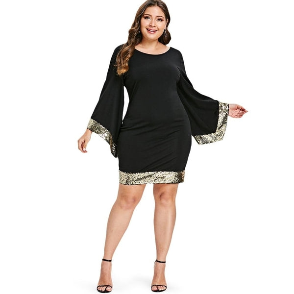Plus Size Ciaobella Sequins Chifon Flare Sleeve Dress