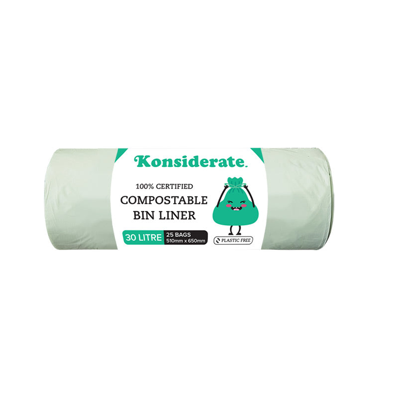 Green 30Lt Certified Compostable Bin Liner