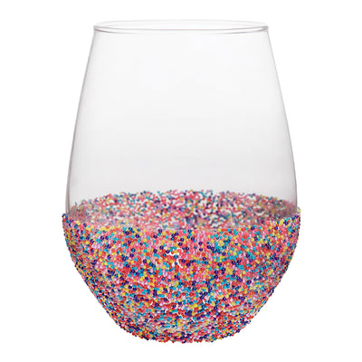 Sprinkle Dipped Jumbo Stemless Wine Glass