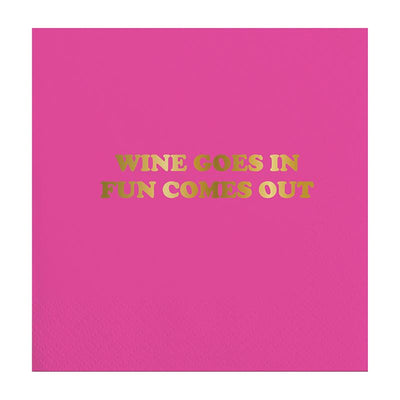 Hot Pink Napkins that say Fun Comes Out Beverage Napkin in gold lettering.