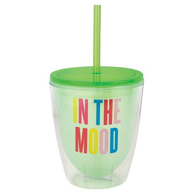 "Green wine tumbler with colorful words ""In the mood"""
