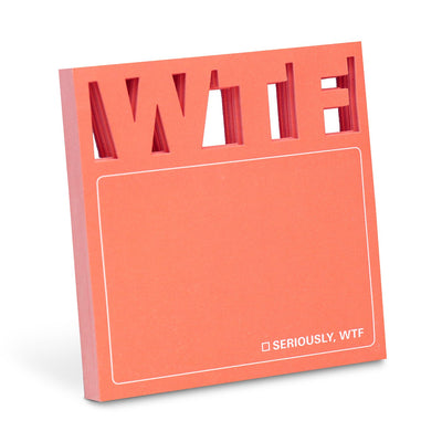 "Orange di cut sticky note with ""WTF"" at the top"