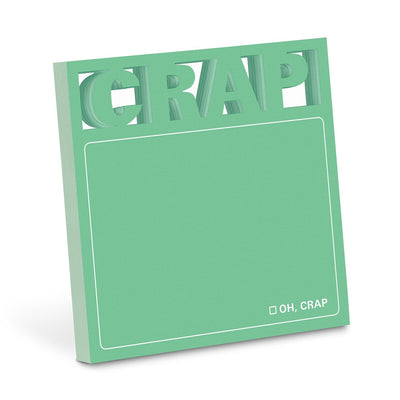 "Green Sticky Notes with letters ""CRAP"" di-cut at the top."