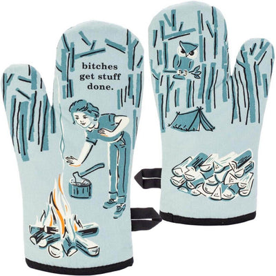 "Blue oven mitt with woman lighting a fire that says ""Bitches get stuff done"""