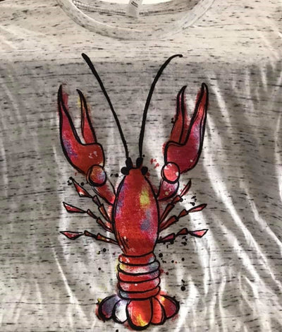 Gray and white textured tshirt with red crawfish on it
