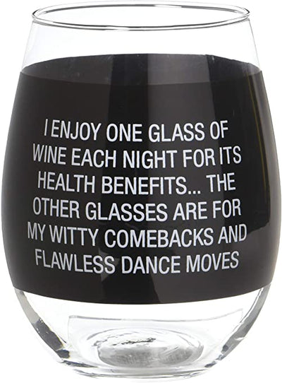 Black stemless wineglass