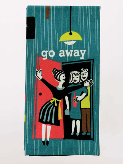 "Colorful dish towel gift that reads ""Go Away""."