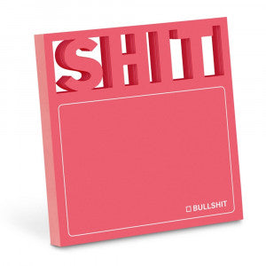 "Pink Sticky Note Pad that has Di Cut Letters ""SHIT"" at the top."