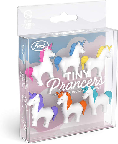 different colored unicorn wine glass charms.