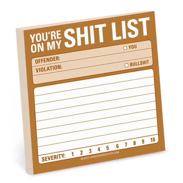 Shit List Sticky Notes