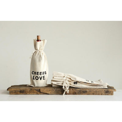 "14""L x 6""W Cotton Wine Bag w/ Saying ""Cheers Love"""