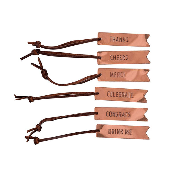 Metal bottle wine tags with variety of messaging:
