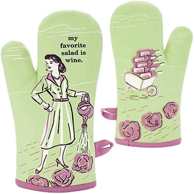 "Green and pink oven mitt that says ""My favorite salad is wine"""