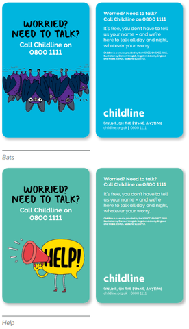 Childline Primary School wallet card pack (50 cards per pack) - ENGLISH