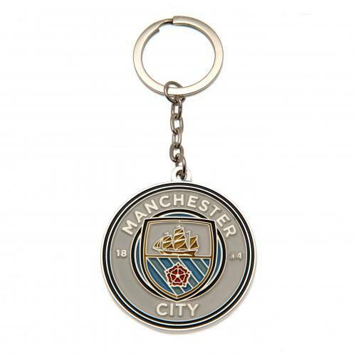 Manchester City F.C Metal Crest Keyring (Official Licensed Product).
