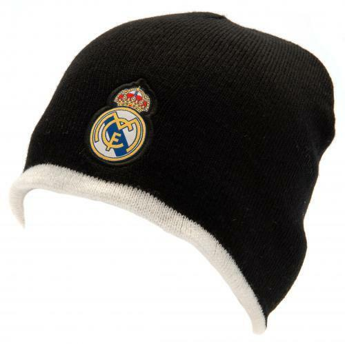 Real Madrid F.C.Reversible Knitted Beanie Hat (Official Licensed Product).