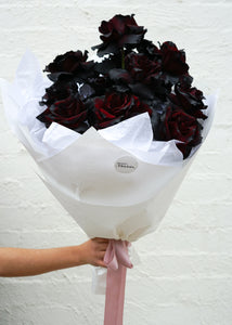 Black reflexed rose bouquet