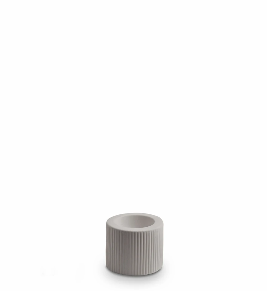 Ribbed Infinity Candle Holder Light Grey
