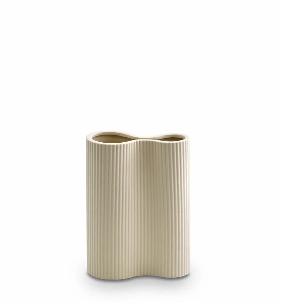 Ribbed Infinity Vase Cream