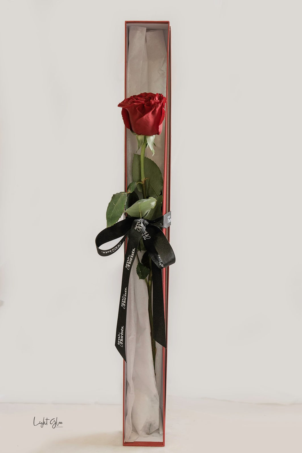 A single rose in gift box