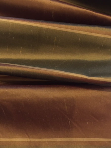 Gold / Bronze irridescent wide stripe on Silk Dupion