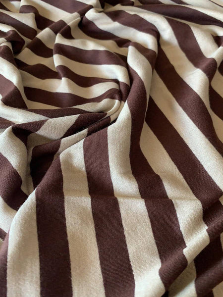 Chestnut/Cream regular 13mm stripe Knit - Deadstock fabric on AmoThreads