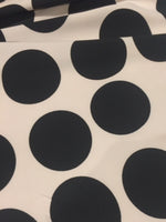 Black Large Spot on Ivory Woven Stretch - Spot 6cm