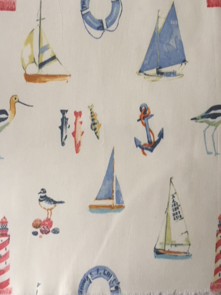 Seaside Theme Blue on Ivory Cotton