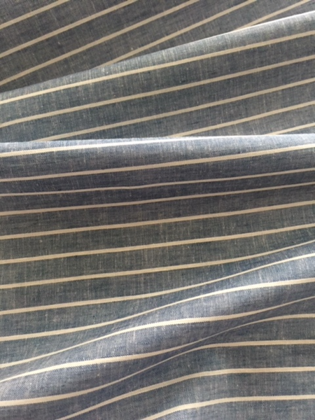White Stripe on Blue Cross Dye Linen/Cotton Shirting