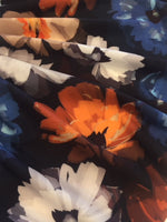 Gold/Blue/White Painted Shadow Flowers Print on Crepe De Chine
