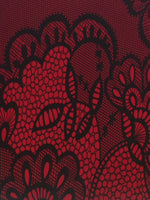Red / Black Lace Look Print on stretch woven