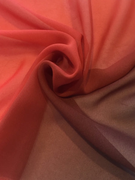 Orange/ Dark Red Ombre Silk Chiffon