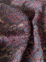 Rose on Black scalloped edge stretch lace - Deadstock fabric on AmoThreads