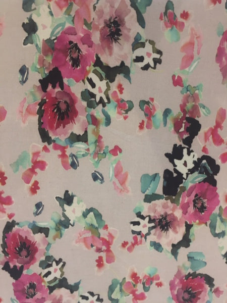 Multi Flower Print on Pale Mauve Linen / Rayon Stretch