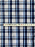 Blue/White yarn dyed check, woven shirting - Deadstock fabric on AmoThreads