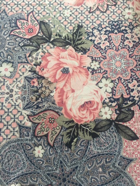Pink Roses on Geometric Moroccan Print Crepe de Chine