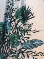 Green Reed & Palm Border Print on White Satin Woven Stretch Base