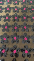 Cerise/Black Flower Sequin - Deadstock fabric on AmoThreads